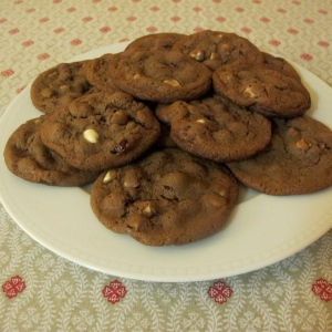 Chocolate hazelnut cranberries cookies on a plate